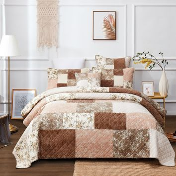 DaDa Bedding Bohemian Patchwork Dusty Rose Mauve Pink & Brown Floral Quilted Bedspread Set (JHW)