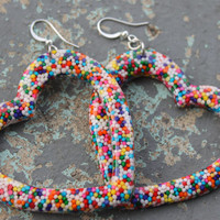 My Big Sweet Yummy Real Sprinkle Resin Open Heart Earrings Handmade By: Tranquilityy