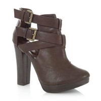 New Look Mobile | Brown Cut Out Buckle Ankle Boots