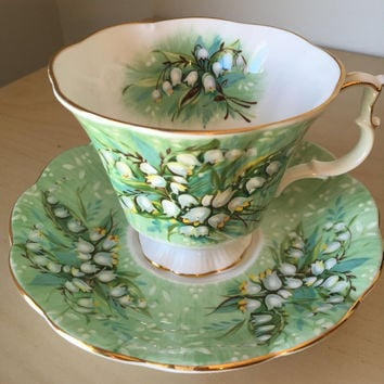 "Royal Albert Festival Series ""Haymarket"" Vintage Teacup and Saucer, Lily of the Valley Light Green Tea Cup and Saucer, English Floral China"