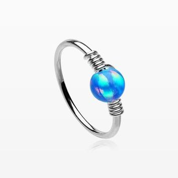 Fire Opal Sparkle Wire Sterling Silver Bendable Hoop Ring