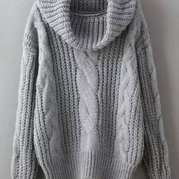 Grey Plain Turndown Collar Casual Polyester Pullover Sweater