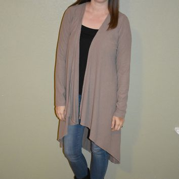 Before You Go Long Cardigan: Taupe