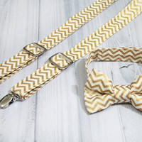 Suspender and Bow Tie Set in gold metallic and cream chevron, RIng Bearer. Christmas, Holidays, Hanukkah