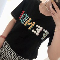 """Fendi"" Women Casual Fashion Personality Multicolor Letter Rivet Short Sleeve T-shirt Top Tee"