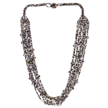 Hand Beaded Necklace - Shimmering Grey