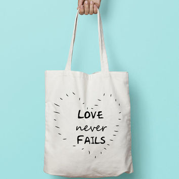 Personalised Name Bridesmaid Tote Bag Love Never Fails - Love  Tote Bag  - Bridesmaid Gift - Custom Canvas Tote Bag - Printed Tote Bag