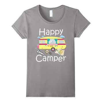 Happy Camper Shirt Cute Holiday Gift Tee Girls Boys