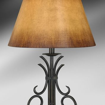 Medallion Antique Brass Wrought Iron Table Lamp