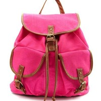 Neon Pink Canvas Backpack: Charlotte Russe