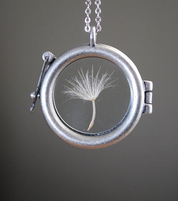 Round Dandelion Seed Necklace Glass Locket