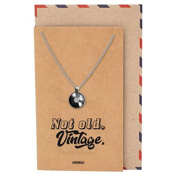 Elliana Vintage Disc Pendant Necklace for Men and Women with Greeting Card