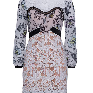 White Contrast Floral Lace Shift Dress