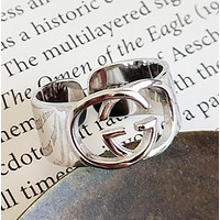 GUCCI New fashion 925 sterling silver personality opening ring women Silver
