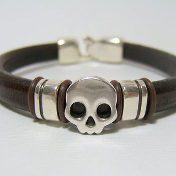 Brown Licorice Leather Men's Bracelet ~ Silver Skull & Striped spacers - Side Hook Clasp - Genuine Leather - custom sizing ~ Regaliz
