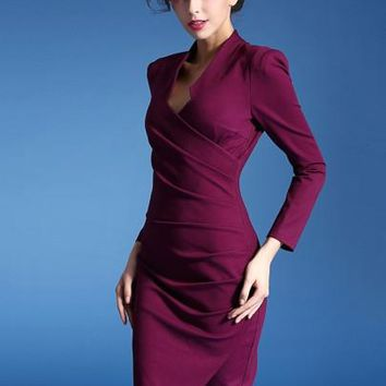 Solid Color Ruffled V Neck Women's Sheath Dress