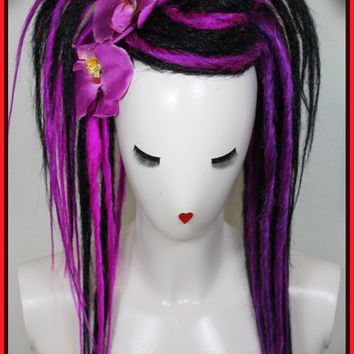Goth Purple Synthetic Dread Falls, 20' Long Layered Synthetic Dread Falls, Hair Pieces, Headdress, Wig, Ponytail, Elastic