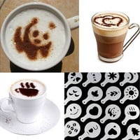 Hot 16Pcs Coffee Latte Art Stencils DIY Decorating Cake Cappuccino FoamTool CN (Color: White) [8045579655]