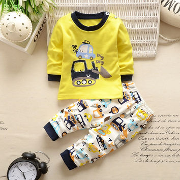 Kids 2 Piece Long Sleeve Print Outfit - 0 To 3T  ( 11 Colors )