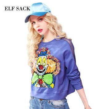 ELF SACK 2017 Women Spring Clown Pattern with Sequins Appliques Sweatshirt Tassel Decoration Long Sleeve with Hollow Out Tops