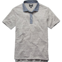 Chambray Collar Polo in Grey Heather