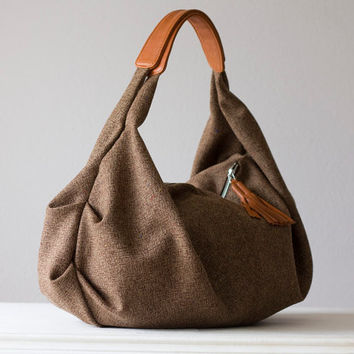 Kallia in brown wool and light brown leather by milloo on Etsy