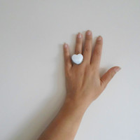Heart ring, mother of pearl ring, adjustable ring, white heart ring, silver plated ring, christmas gift, gift for her.