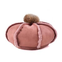 Rubber Red Raw Trims Fluffy Pom Pom Wool Beret