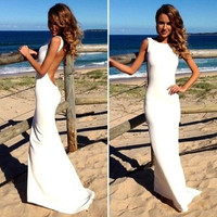 Long White Prom Dress, cocktail dress, formal dress, elegant dress, bridesmaid dress, mermaid dress, peekaboo back, sexy dress, classy dress