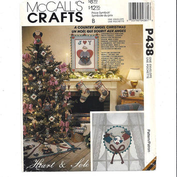 McCall's P 438, 6641, 841 Heart & Sole Angel Christmas Crafts, FACTORY FOLDED, UNCUT, 1993, Wreath, Stockings, Vintage Pattern, Home Sew