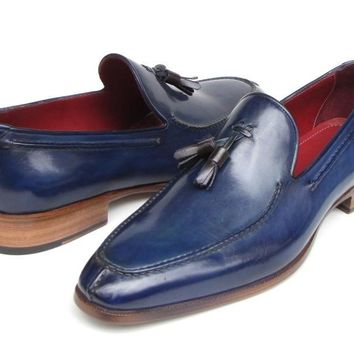 Paul Parkman Men's Tassel Loafer Blue Hand Painted Leather (ID#083-BLU)