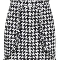Black Dogtooth Paperbag Frill Mini Skirt