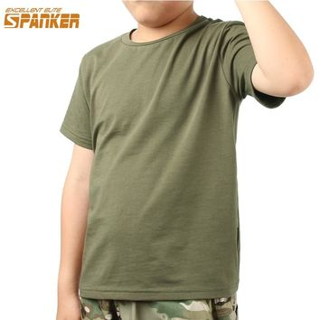 EXCELLENT ELITE SPANKER Summer Tactical Sports Children's T-shirt Kids Boy Cotton O-neck Breathable Tee Basic Shirt Solid Color