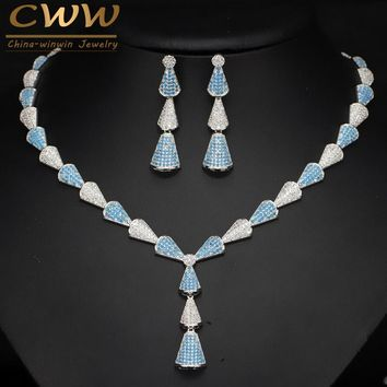 CWWZircons Special Light Blue Cubic Zirconia Stone Micro Paved CZ Necklace Jewelry Set For Women Banquet Party Costume T018