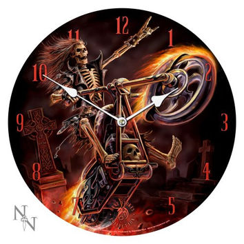 13.5 Hell Rider Skeleton Motorcycle Chopper Anne Stokes Collection Fantasy Goth Angel Art Round Wall Clock