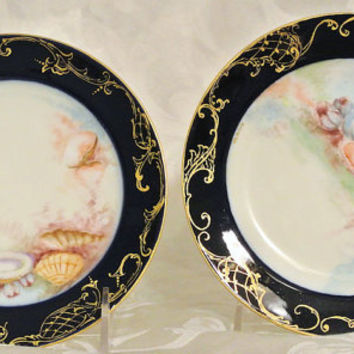 1900s Limoges France Haviland Plates Hand Painted Porcelain Plates Antique Art Nouveau Pair Cobalt Trim Stenciled Gold Gilding French China