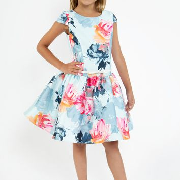 Girls Light Blue Floral Print Mikado Dress with Low Waist 4-14