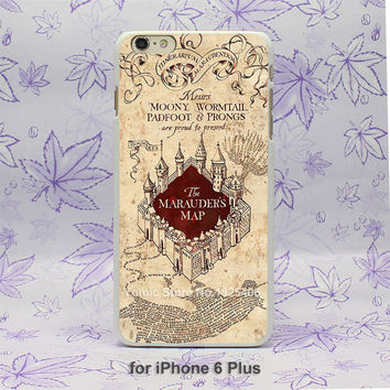 ETFC-172 Harry Potter Marauders Map Pattern hard White Skin Case Cover for iPhone 4 4s 4g 5 5s 5c 6 6s 6 Plus