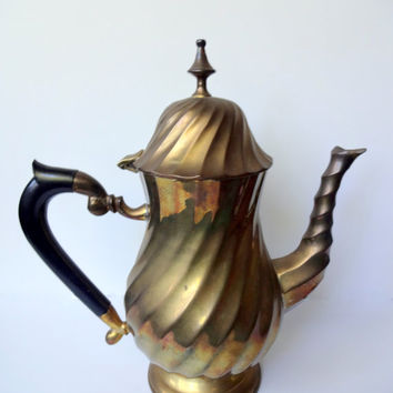 Vintage Brass Teapot Made in India 1970s