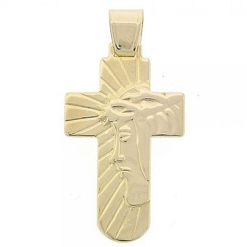 Gold Layered 05.16.0136 Religious Pendant, Cross and Jesus Design, Golden Tone