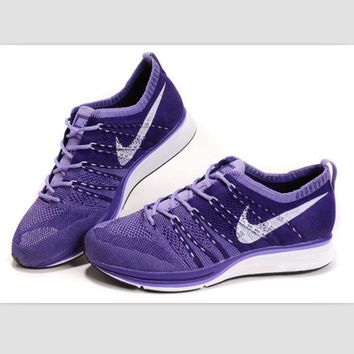 NIKE woven casual shoes running shoes Purple white