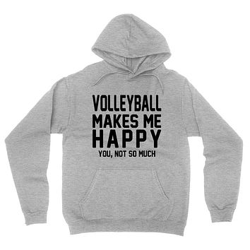 Volleyball makes me happy you not so much, funny workout graphic hoodie
