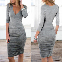 Sexy Bodycon Long Sleeve Gathered Proffessional Office Maternity Dress