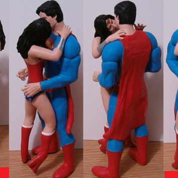 Superman and Wonder Woman Custom Wedding Cake Toppers Figure set - Superheroes - Your Choice