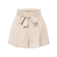Stretchy High Waisted Tie Belt Pleated Summer Shorts (CLEARANCE)