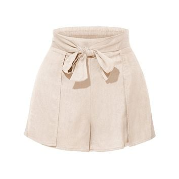 Stretchy High Waisted Tie Belt Pleated Summer Shorts