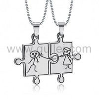 Engraved Jigsaw Puzzle Funny Necklaces for Boyfriend and Girlfriend