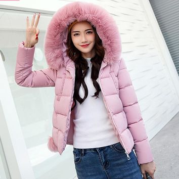 BONJEAN Winter Female Jacket 2017 Winter puffer Coat Women Fake Fur Collar coat hooded Woman Warm Parka Outerwear Down jacket