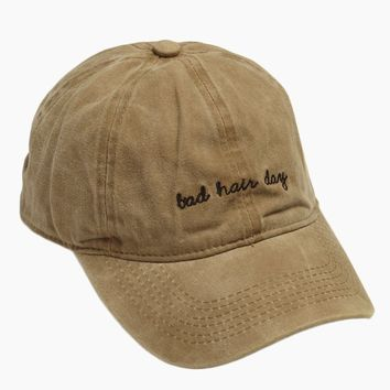 Bad Hair Day Slogan Baseball Cap - Khaki Brown