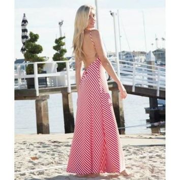 Open Back Red Striped Maxi Dress